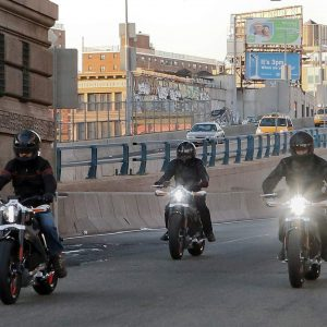 Riders introduce Project LiveWireÑthe first electric Harley-Davidson motorcycleÑas they exit the Manhattan Bridge in New York, June 23, 2014. While not for sale, starting today select consumers across the United States will be able to ride and provide feedback on the new motorcycle during a series of events scheduled through the remainder of the year.  Ray Stubblebine/Harley-Davidson