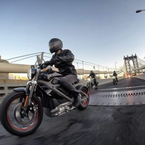 NEW YORK, NY - JUNE 23: Harley-Davidson riders reveal Project LiveWire, the first electric Harley-Davidson motorcycle during a special ride across the iconic Manhattan Bridge. (Photo by Neilson Barnard/Getty Images)